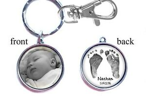 Personalized-Baby-Photo-Footprint-Keychain-Double-Sided-2-sides-for-Mom-Dad