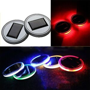 Led Solar Powered Car Cup Coaster Auto Mat Pad Holder Lights Colorful Lamp Hl982 Ebay