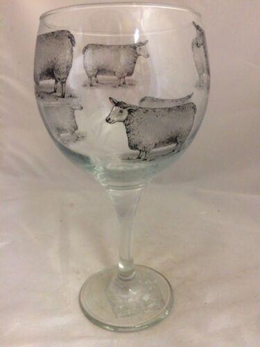 BLACK  SHEEP DESIGNS ON LARGE GIN GLASS