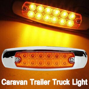1X-12LEDs-Side-Marker-Lamp-Light-for-Freightliner-Kenworth-Trucks-Amber-12-24V