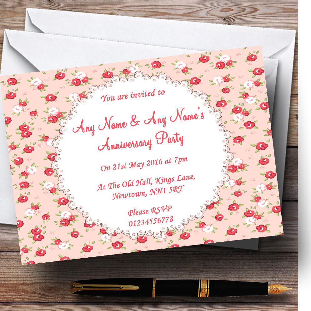 Rouge Rouge Rouge et rose corail floral invitations personnalisées Fête Anniversaire 259b86