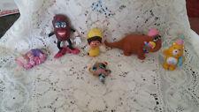 6 VTG Mixed Character Toys Plastic California Raisin, Care Bear Snuffleupagus