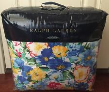 RALPH LAUREN Ashlyn QUEEN COMFORTER Blue Yellow Pink FLORAL Cotton NWT $355