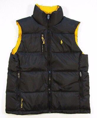 Polo Ralph Lauren Men's Color Block Color Blocked Black & Yellow Quilted Vest