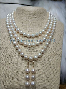 3 layer  9-10 MM SOUTH SEA NATURAL White PEARL NECKLACE 14K GOLD CLASP