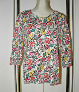 Talbots-L-Knit-Top-Shirt-Floral-Print-Multi-color-with-Gray-3-4-Sleeves-Pullover