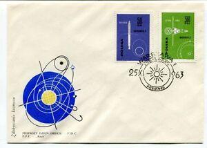 1963 Pierwszy Dzien Obiegu Fdc Warszawa Zobywanie Kosmosu Space Nasa