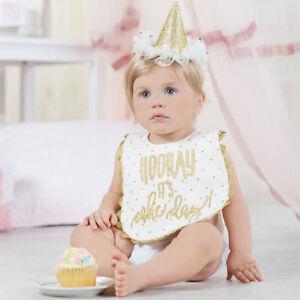 86e17ce4612 Mud Pie E7 Birthday Princess Baby Girl Party Hat Bib Cake Smashing Set  1592109