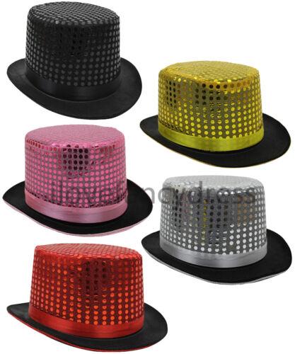 12 x Paillettes Cappello Fancy Dress Ringmaster CABARET TOPPER gruppo CAPPELLO Joblot