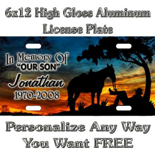 In Memory Of Cowboy Horse Sunset Sign Custom Monogram License Plate Auto Car Tag
