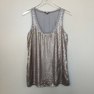 Express-Womens-Shirt-Gray-Rose-Gold-Embellished-Sequin-Sleeveless-Tank-Top-Small
