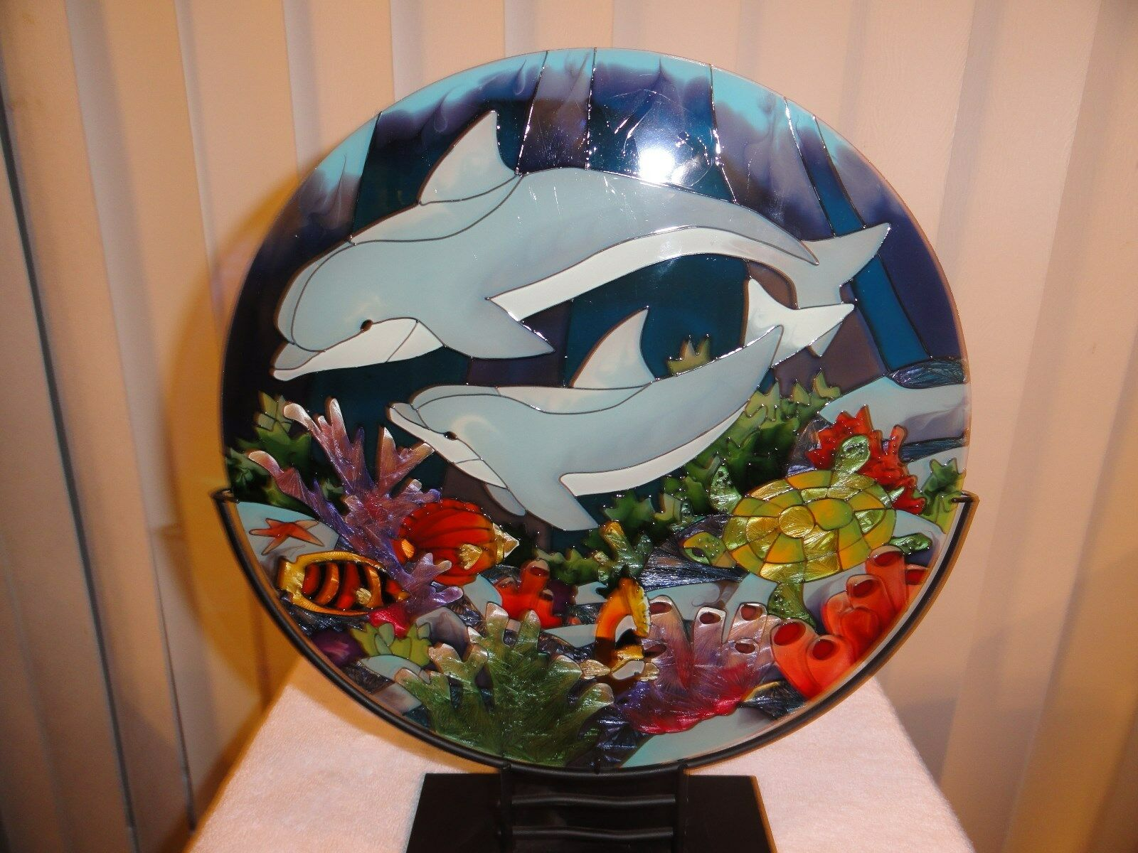 Dolphins  hand painted art glass Candle Holder- Joan Baker TS160