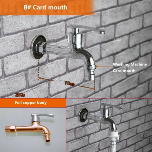 "Brass Cold Water Garden Outdoor Tap 1//2/"" With Aerator//Threaded Mouth and Adapter"