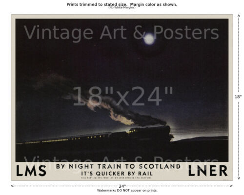 4 sizes matte+glossy avail LMS Railways Night Train to Scotland Vintage Poster