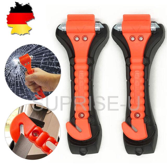 2 x Auto Notfallhammer Nothammer Scheibenhammer mit Gurtschneider /& LED Lampe