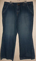 Womens Venezia Flare Leg Distressed Blue Jeans Size 20
