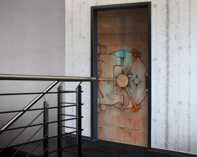 Underground Vault Door Sticker in Silver & Brown -Door Decor, Door wallpaper