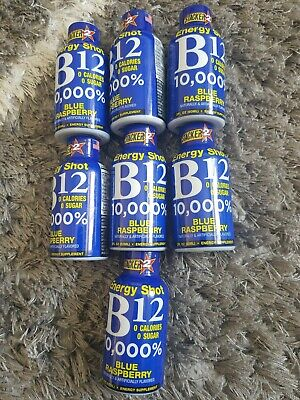 7x Stacker B12 Energy Shot. 20z Blue Raspberry flavor ...