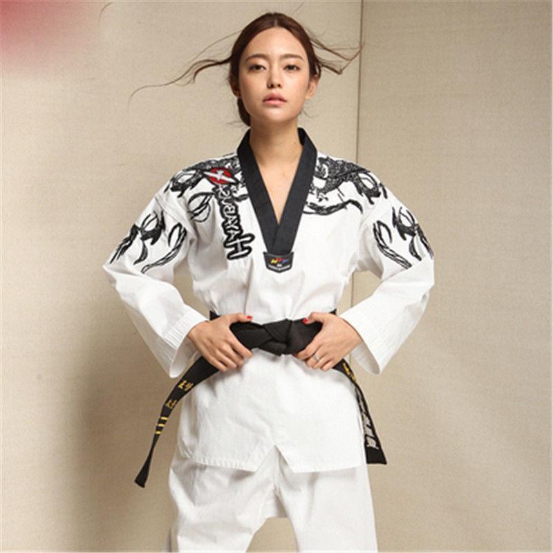 Adult Men Women Master Taekwondo Uniforms Dobok Tae Kwon Do Trainer Suit ADE