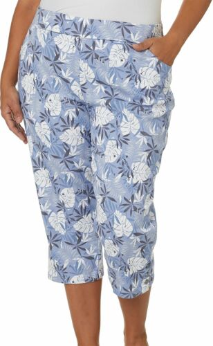 Coral Bay Plus Tropical Palm Print Pull On Capris
