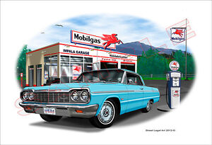 1964 Chevy Impala Muscle Car Art Print - 7 colors