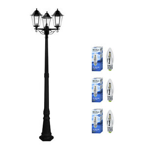 Victorian style 3 way led outdoor garden light lamp post for 59 victorian lighted black lamp post christmas decoration