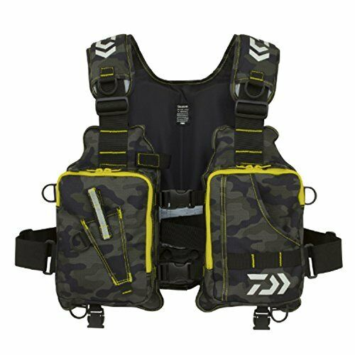 Daiwa Light Float Fishing Game Vest Green Camo DF-6406 Free Size from Japan