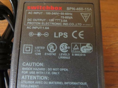 Proton SPN-460-15A Switchbox AC Power Adapter Charger 15 Volts 3 Amps