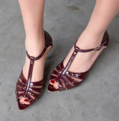 2018 Summer Leather Women Sandals with A Buckle Large Size Hollow Shoes Woman,Wine red,9