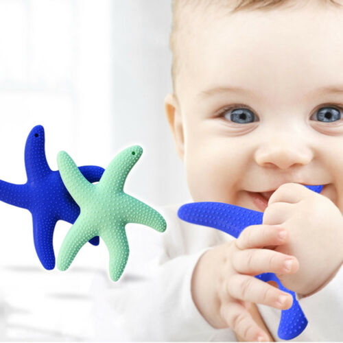 2 Pcs Rubber Starfish Silicone Baby Teeth Food Grade Sensory Teether Chew Toy US