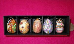 Albero-di-Natale-Ornamenti-Klimt-Uova-Bambola-Russa-Set-5-Oro-Blu-Nero-Disegno