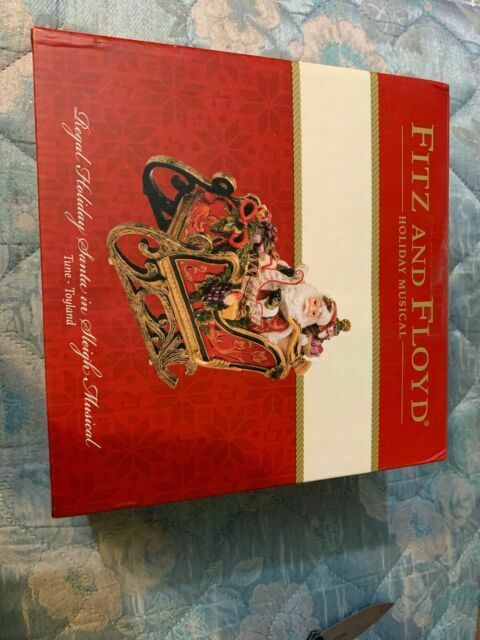 Santa in Sleigh Musical Figurine Fitz /& Floyd 49-279 Regal Holiday Collection