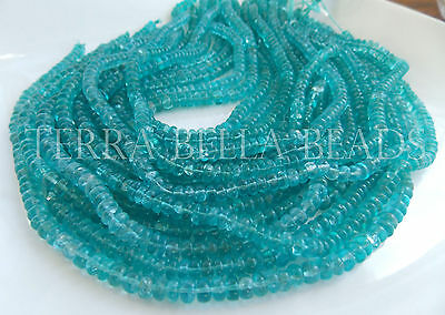 "13"" strand aqua blue AAA APATITE smooth polished gem stone rondelle beads 5mm"