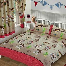 HOWDY COWBOY DOUBLE DUVET COVER SET NEW RED INDIANS BEDDING