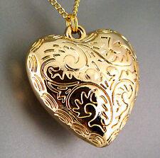 Gold Silver Engraved Chunky Retro Heart Regency Nouveau Scrolls Pendant Necklace