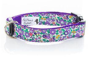 Liberty-Tela-Azul-Betsy-Ann-Floral-hecho-a-mano-collar-de-perro-o-plomo-opciones-de-tamano