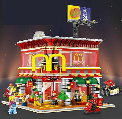 1729pcs McDonald/'s Store With LED Lighting Building Blocks DIY Action Figure Toy