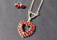 Monet Gold Tone Red Rhinestone Heart Necklace Earring Set Fashion Jewelry