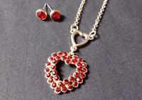 Monet Gold Tone Red Rhinestone Heart Necklace Earring Set Fashion Jewelry
