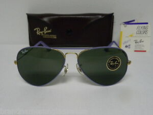 987cf936122 New Vintage B L Ray Ban Large Metal Flying Colors Arista Purple ...