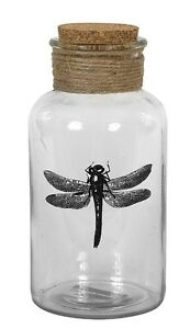 """Creative Co-op DA3456 Dragonfly Glass Bottle with Cork Stopper 6-3/4"""" Tall"""