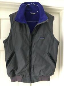 Patagonia-VTG-Mens-L-Fleece-Lined-Nylon-Wind-stopper-Shell-Vest-Jacket-Coat-Gray