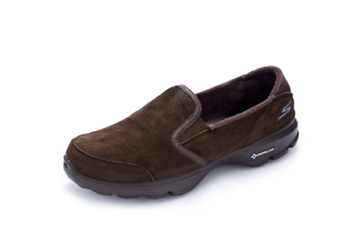 SKECHERS GOWALK 3 Suede Trainer with Faux Fur Lining Black