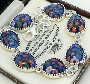 Vintage-Millefiori-Style-Blue-Tearshape-Flower-Design-Glass-Cabochon-Bracelet