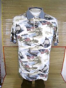 BOCA-CLASSICS-Men-Shirt-POLO-pit-to-pit-22-air-craft-carriers-USA-Flag-Patriotic