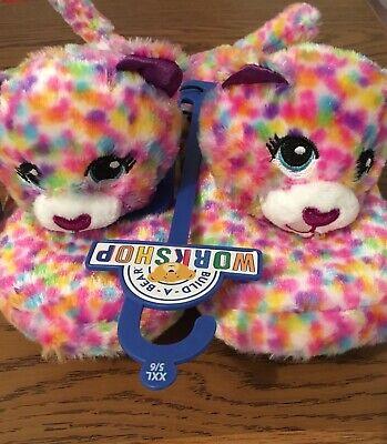 ~ NWT Build-A-Bear Girls Rainbow Confetti Slippers Xlarge 4-5 ~ Ages 4