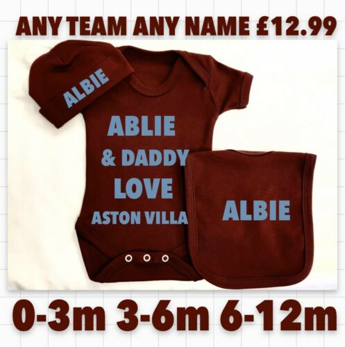 Football Grandad Daddy Uncle Aston Villa  Soccer Bodysuit Hat Bib Baby Any Name