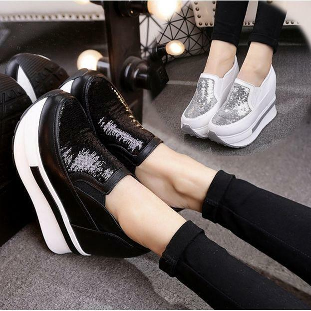 Slip On Womens Platform High Heel Sport Athletic Sneaker Loafers shoes Creepers