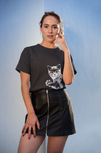 Womens FASHION T-Shirt CAT Side Summer Casual Hipster Trendy Funny Gift Her