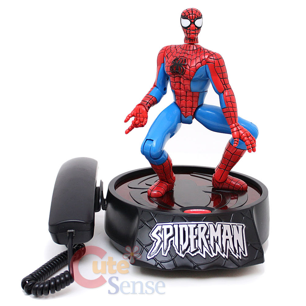 Marvel Spiderman Animated Phone Action Figure Novelty Lane Line Telephone